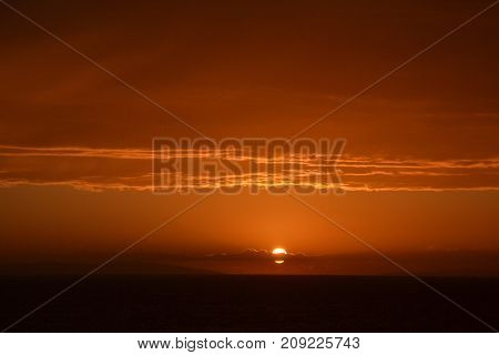 Beautiful summer sunset scene, dramatic sky and colors
