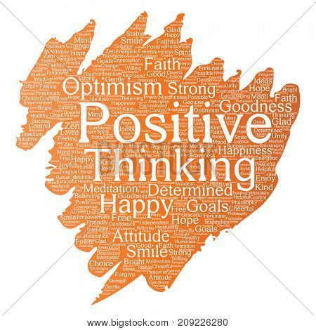 Conceptual positive thinking, happy strong attitude paint brush word cloud isolated on background. Collage of optimism smile, faith, courageous goals, goodness or happiness inspiration
