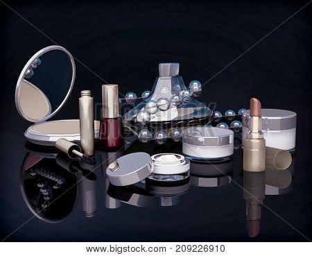 Set of make-up products on black background. Evening make-up. 3D illustration