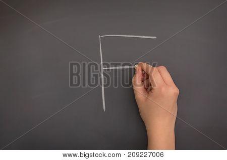 Someone writing an F on the blackboard