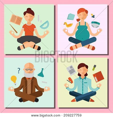 Lotus position yoga pose meditation art relax people relax cards design concept character happiness vector illustration. Healthy lifestyle zen body asana.