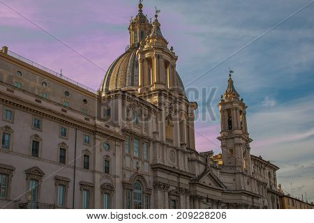 Sant'Agnese in Agone church in Piazza Navona at sunset, Rome
