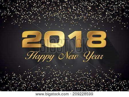 Vector Hapy New Year 2018 Card In Gold