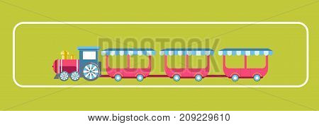 Amusement park attractions of kid train carousel. Vector flat design for children entertainment park plan or layout template