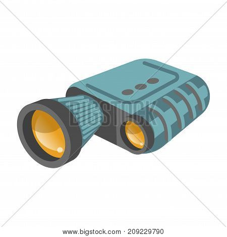 Binoculars modern zoom spyglass vector flat isolated icon. Vector symbol of modern military or surveillance binocular periscope with magnifying lens
