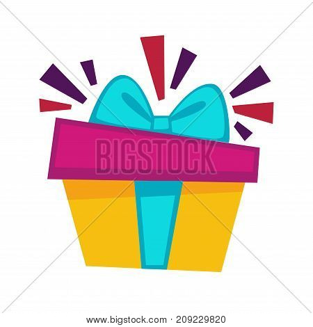 Birthday gift box and bow ribbon design template for greeting card or postcard. Vector Happy Birthday holiday party gift with festive confetti for anniversary celebration