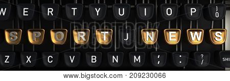 Typewriter with gold buttons in a row, assembling SPORT NEWS words