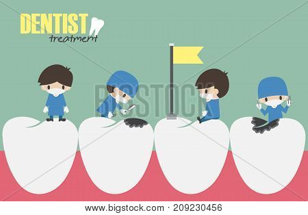 Dentists check up in your teeth and looking for dental caries . Vector . Flat design .