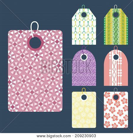 Stylish price clothes tag with pattern clothing price sale card stickers collection paper blank business promotion badge vector illustration. Discount empty shopping frame gift coupon.