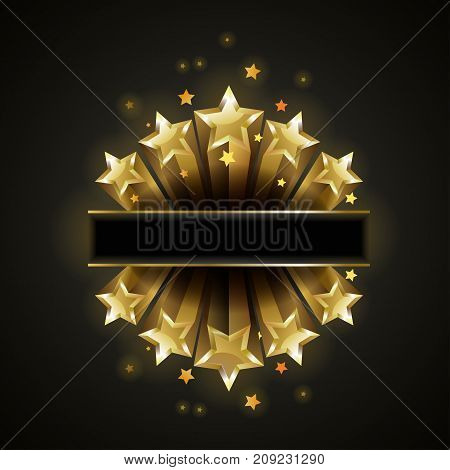 Golden bright shiny stars flying on black background. Radiant celestial bodies with sharp edges isolated cartoon vector illustration.