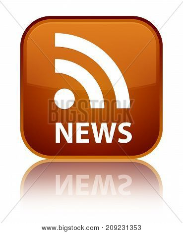 News (rss Icon) Special Brown Square Button