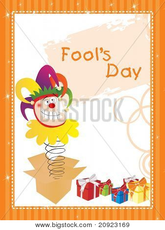 cardboard box with funny face and gift illustration for fools day