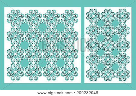 Set decorative panels laser cutting. wooden panel. Modern elegant pattern of hearts. Ratio 1:2, 1:1. Vector illustration.