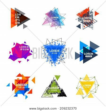 Sacred geometry triangle abstract logo figures elements mystic polygon triangulum creative square vector illustration. Mystical and esoteric forms spiritual badge trendy hexagon line modern star.