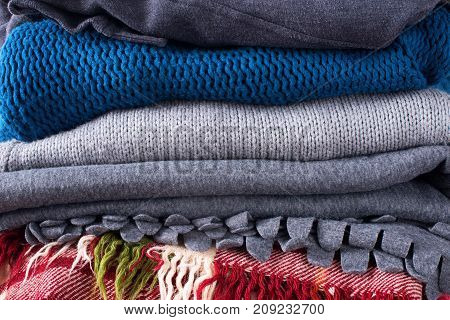 Stack Colorful Woven Blankets Pillows Plaids