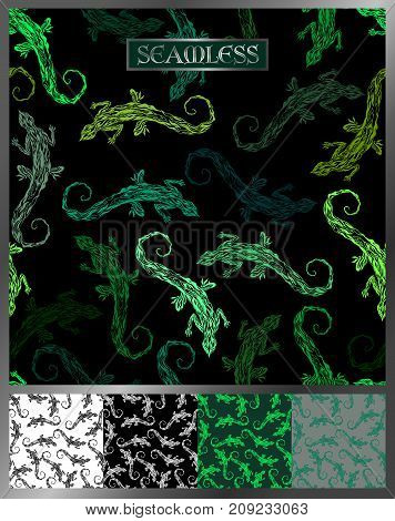 seamless pattern with lizards of different shades of green