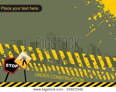 vector building with grunge and road illustration poster