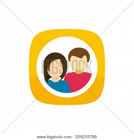 Contacts icon vector symbol, flat cartoon man and woman couple persons inside button, idea of addresses sign, personal organizer or profile data pictogram