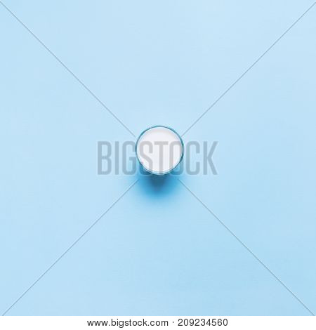 One Object Fresh Glass Milk Color Blue Flat Lay