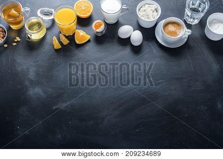 Useful Colorful Breakfast Stil Life Black Table