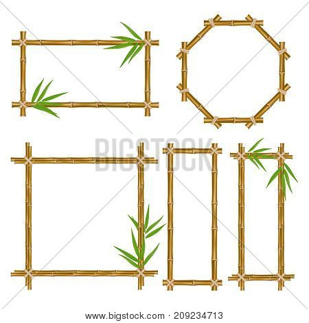 Vector bamboo frame set. Wooden frame made of bamboo sticks and bamboo leaves tied up with rope. Bamboo home decoration.