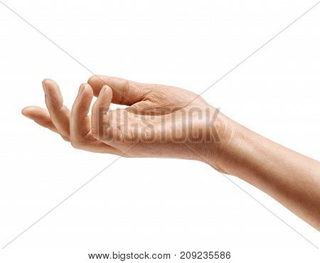 Man's hand sign isolated on white background. Palm up close up. High resolution product