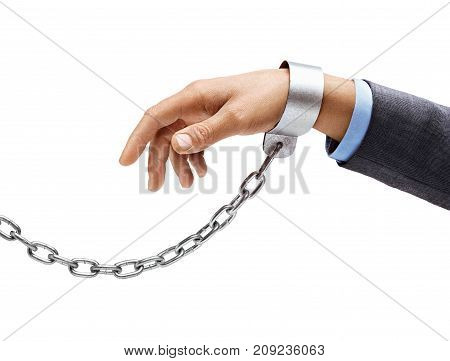 Man's hand in a suit in chains isolated on white background. Close up concept against violence