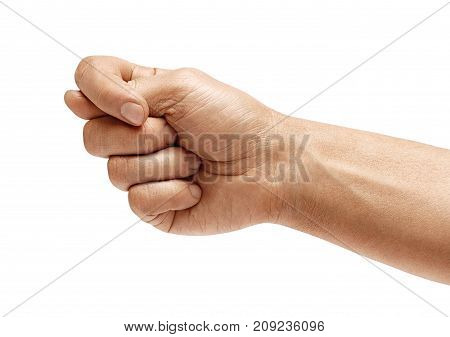 Men's hand shows the fig isolated on white background negative concept. High resolution product. Close up