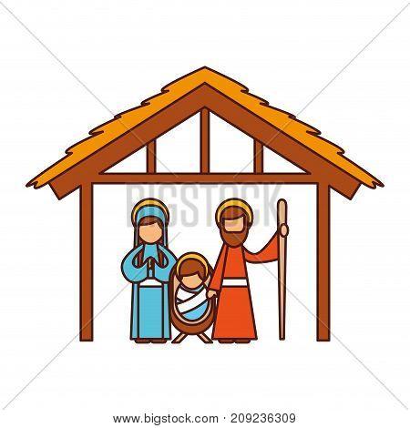 traditional family christmas manger scene baby jesus virgin mary and saint joseph vector illustration