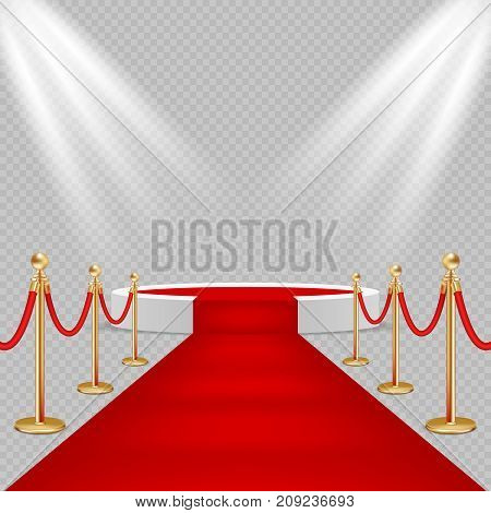 Vector illustration of white round podium with red carpet and lights. Realistic illustration on transparent background. Red carpet event design element.