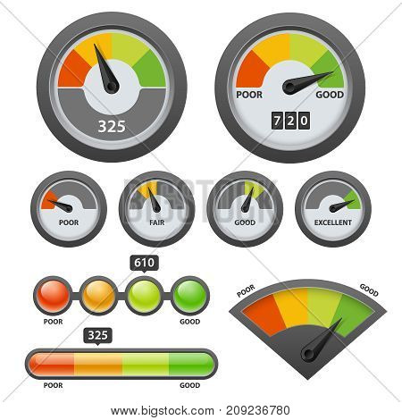 Vector credit score gauge icon set. Credit scoring or calculating the creditworthiness of borrowers concept design elements.