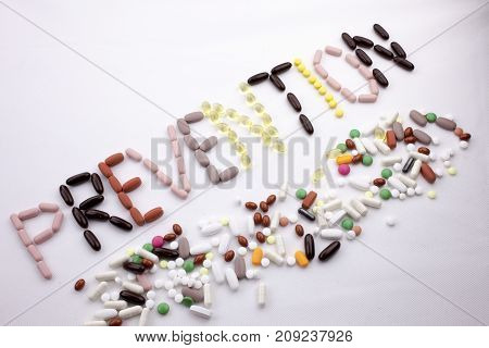 Conceptual Hand Writing Text Caption Inspiration Medical Care Health Concept Written With Pills Drug