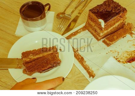 Cake and coffee on the table. Cup of coffee with cake - Retro color