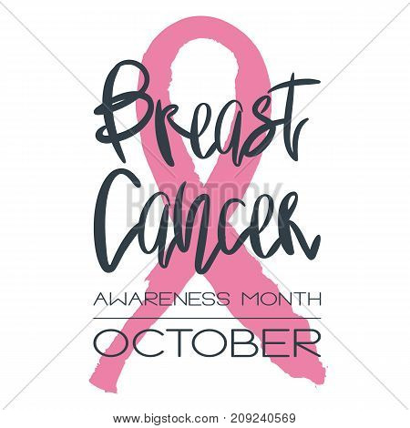 Breast cancer awareness month - conceptual poster. Template with handdrawn messy pink ribbon and handwritten black lettering on white. Vector illustration for support card or banner