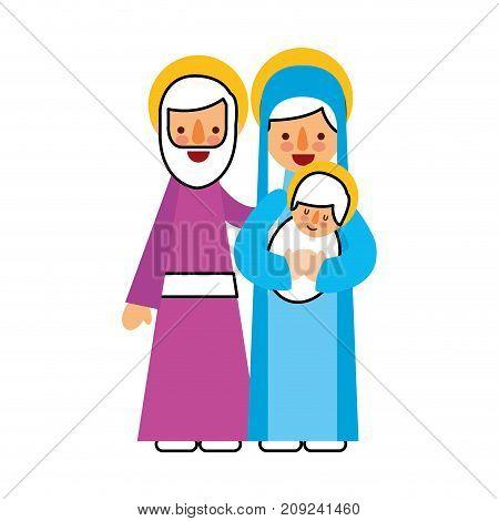 nativity scene of joseph and mary holding baby jesus vector illustration