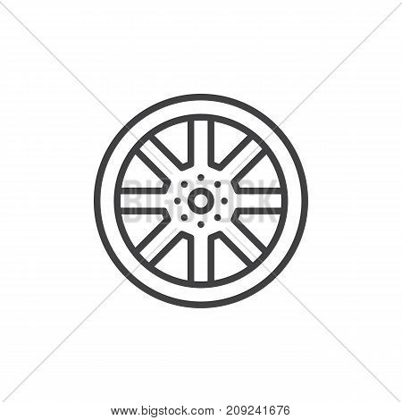 Alloy wheel line icon, outline vector sign, linear style pictogram isolated on white. Symbol, logo illustration. Editable stroke