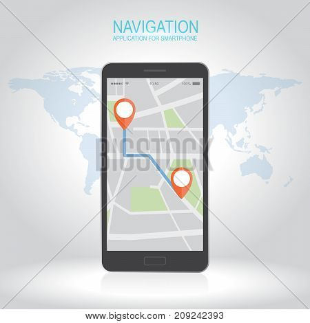 Concept of responsive navigation application for smartphone. Map with GPS location mark displayed on devices. Flat style vector illustration.