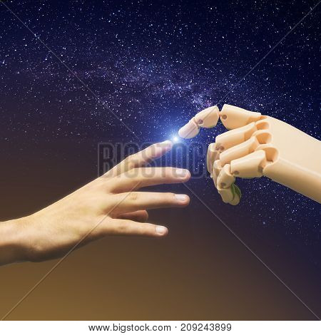 The Birth of Artificial Intelligence. Communication between human and robot. The starry galaxy space background.