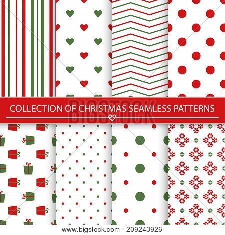 Set of christmas seamless patterns.Green and red colors.Seamless pattern included in swatch panel.Vector background.