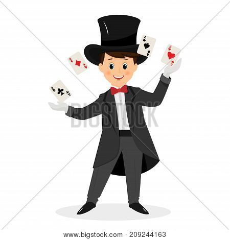 Magician with hat and  playing cards.Isolated on white background. Cartoon style. Vector illustration