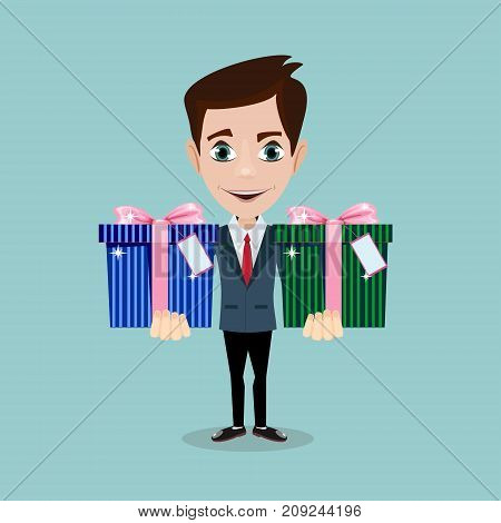 Happy man and gift box with bow. Stock flat vector illustration.