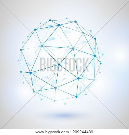 Wireframe 3D mesh polygonal vector sphere. Network line design sphere dot and structure illustration