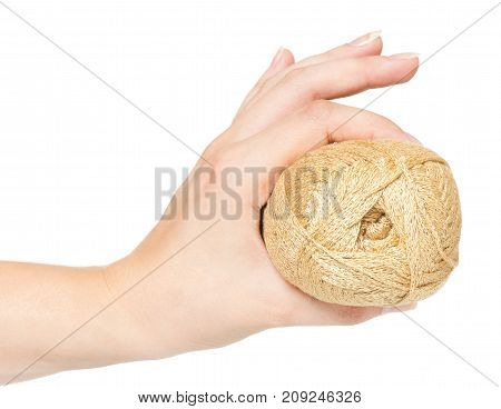 Knitting threads in a woman hand isolated on white background