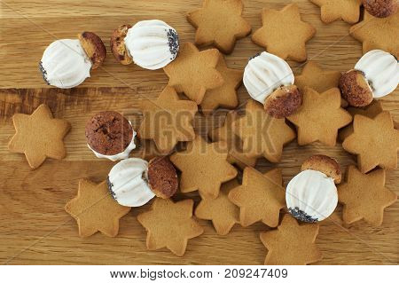 Delicious cookies on brown wooden table background