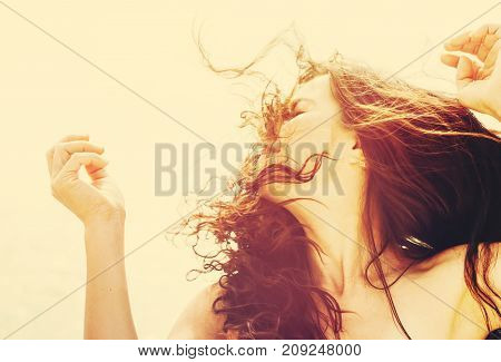 Girl Outdoors. Hair Blowing In The Wind