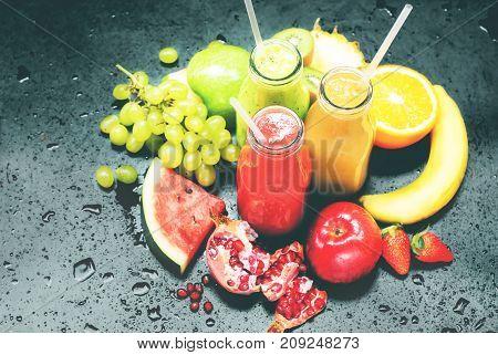 Fresh Juices Squeeze Bottles Red Green Orange