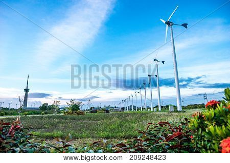 Wind turbines produce electricity station in Laem Chabang Industrial Estate. Chonburi Thailand