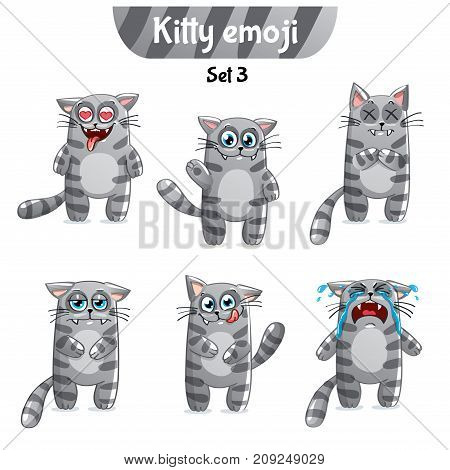 Set kit collection sticker emoji emoticon emotion vector isolated illustration happy character sweet, cute gray, smoky, striped, tabby cat