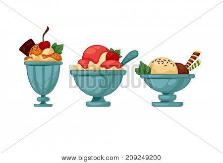 Set of colorful tasty ice cream. Isolated on white.  illustration.