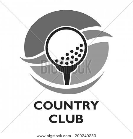 Golf country club logo template or icon for tournament and championship.  symbols of victory goblet or champion winner cup award